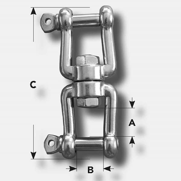 Picture of Swivel | 6 mm | shackle and shackle | breaking load 1,2 t | stainless V4A/AISI 316