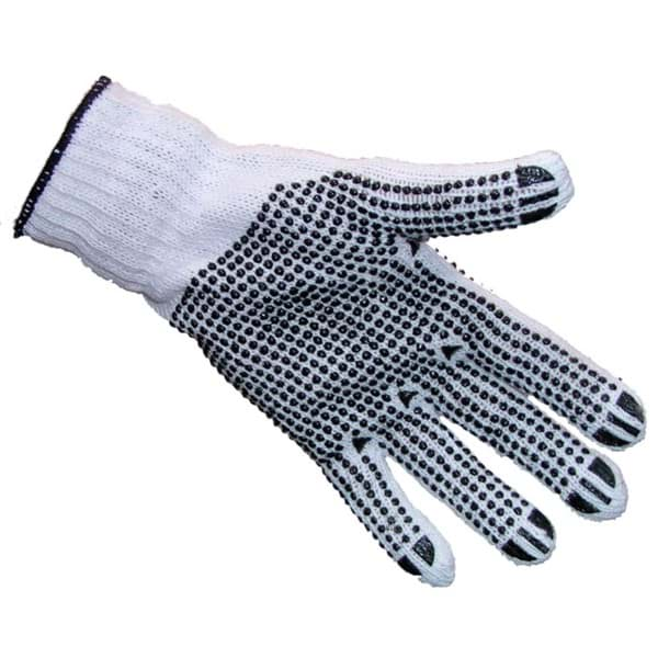 Picture of Knitted cotton gloves | palms rough shagged | white