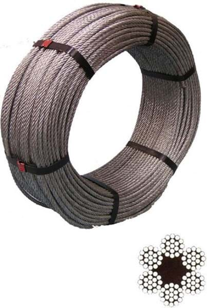 Picture of Steel Wire Rope | 4mm diameter | galvanized | construction 6x19 + fibre core (FC) | 220m