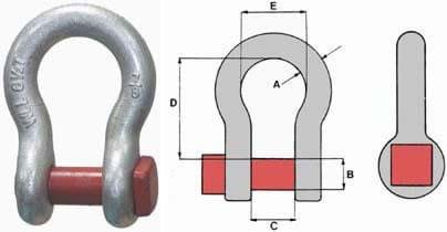 Picture of Trawl shackle | WLL 17,0t | red pin | bow type