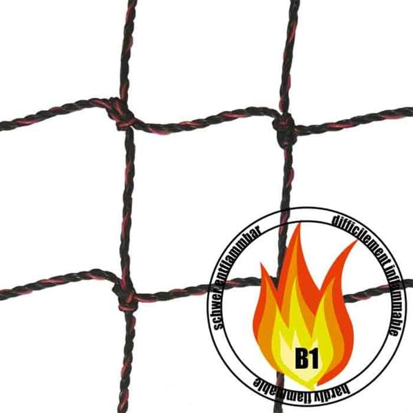 Photo de Filet Polyethylène (HD PE) | maille 50mm | difficilement inflammable | certifié DIN 4102-1 M1 | B1