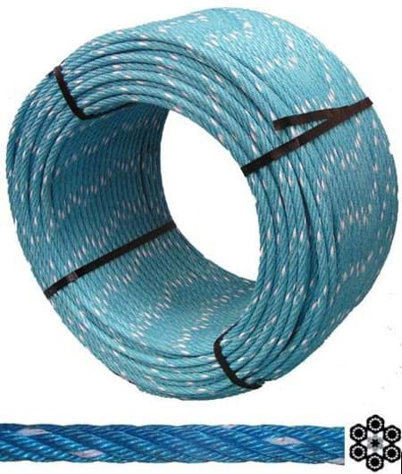 Picture of Combination Wire Rope Herkules (PP) | 20mm diameter | galvanized steel core | 6-strands | 220m