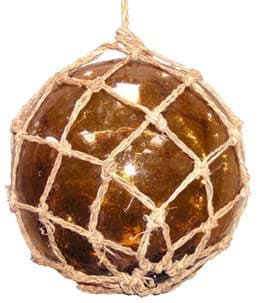 Picture of Glass float 200mm diameter, green, brown or clear colour with cover net and rope