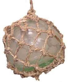 Picture of Glass float 120mm diameter, green, brown or clear with cover net and rope